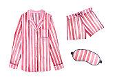 パジャマ衣装キットを眠っています。古典的な繊維ストライプ、桜の色。
