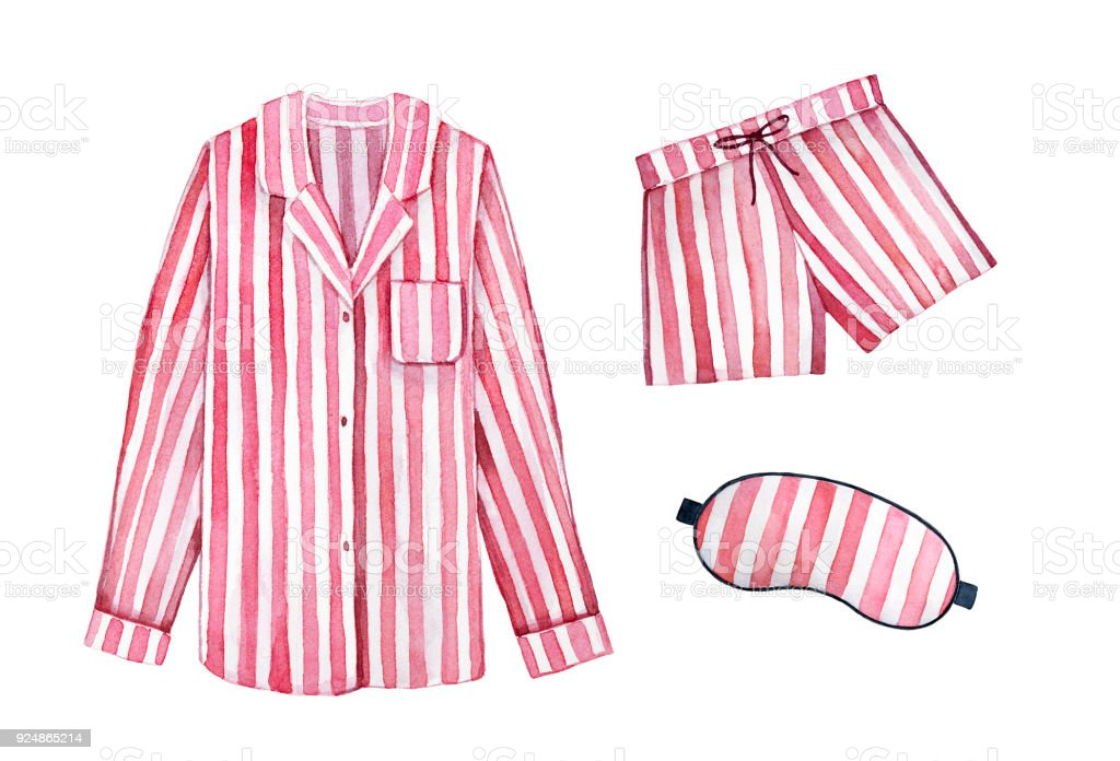 Pajamas sleeping outfit kit. Classic textile stripes, cherry color. vector art illustration