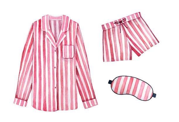 Pijama dormir kit de equipo. Color de rayas, cerezo clásico textil. - ilustración de arte vectorial