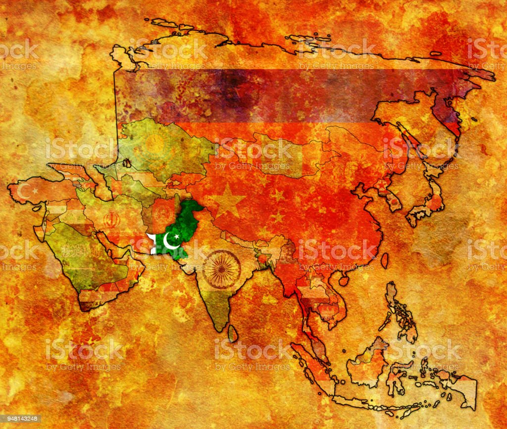 Political Map Of Asia Continent.Pakistan Flag On Political Map Of Asia Stock Vector Art More