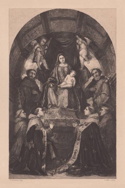 pala di san francesco di brescia, girolamo ekolu tarafından boyalı - pope francis stock illustrations