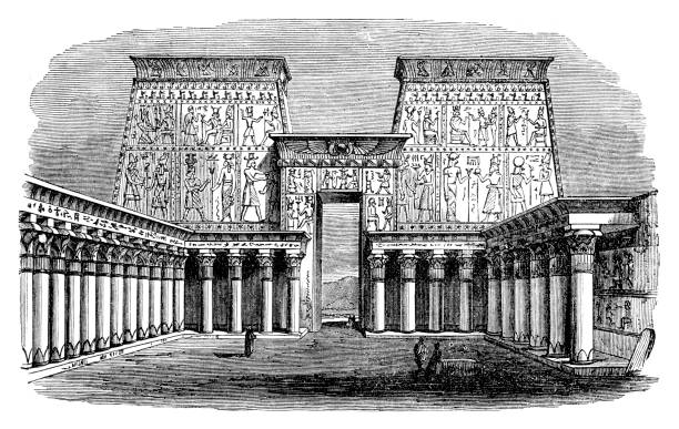 "Palace at Edfu in Egypt Steel engraving of Palace at Edfu in Egypt Original edition from my own archives Source : ""Calwer Bibellexikon"" 1885 ancient egyptian culture stock illustrations"