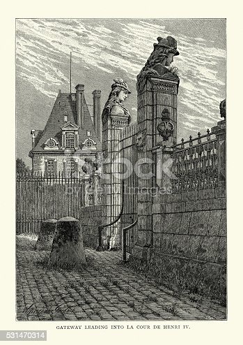 Vintage engraving of the gateway leading into La Cour de Henri IV at Palace of Fontainebleau. The Palace of Fontainebleau or Chateau de Fontainebleau is located 55 kilometres southeast of the centre of Paris, and is one of the largest French royal chateaux.