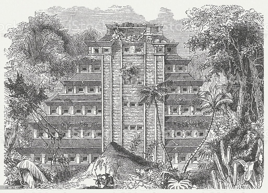 Palace of Sayil, Yucatán, Mexico, wood engraving, published in 1876 royalty-free palace of sayil yucatán mexico wood engraving published in 1876 stock vector art & more images of engraved image