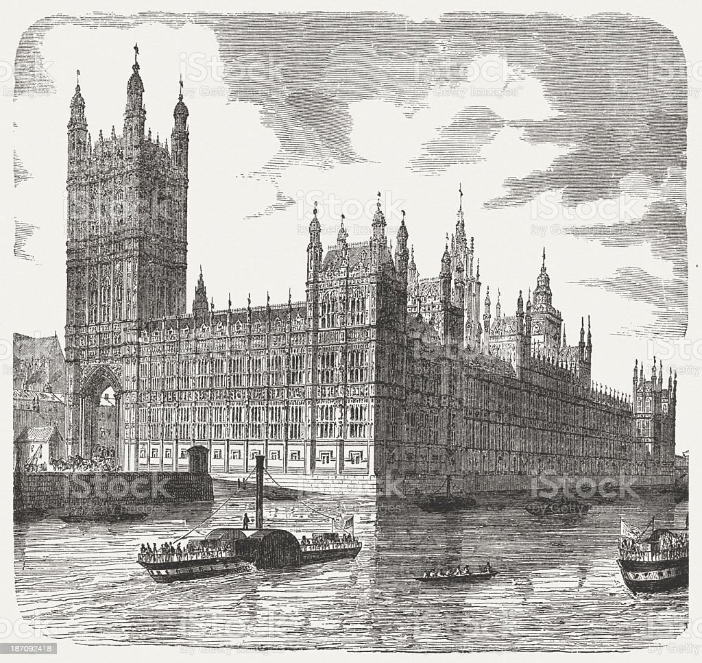 Palace of Westminster, London, wood engraving, published in 1876 royalty-free stock vector art