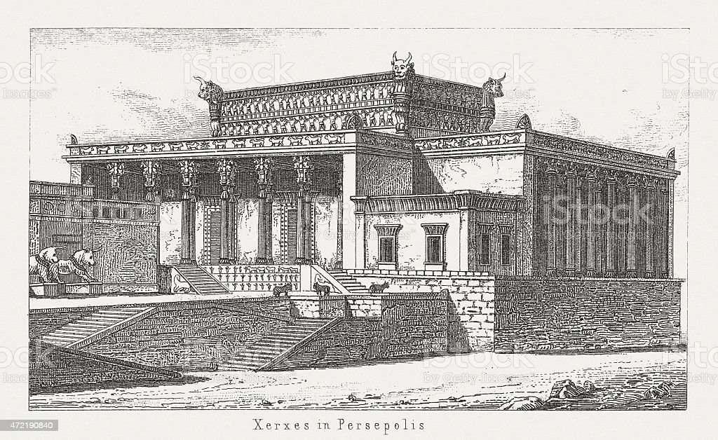 Palace Of Xerxes I Persian King Wood Engraving Published 1874 Stock Illustration Download Image Now Istock