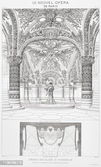 France,Paris Opera ,Charles Garnier, Details, Blueprints, etc.