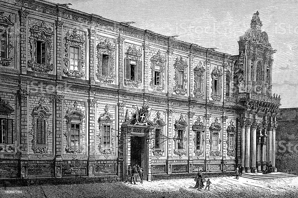 Palazzo della Prefettura in Lecce, Italy royalty-free stock vector art