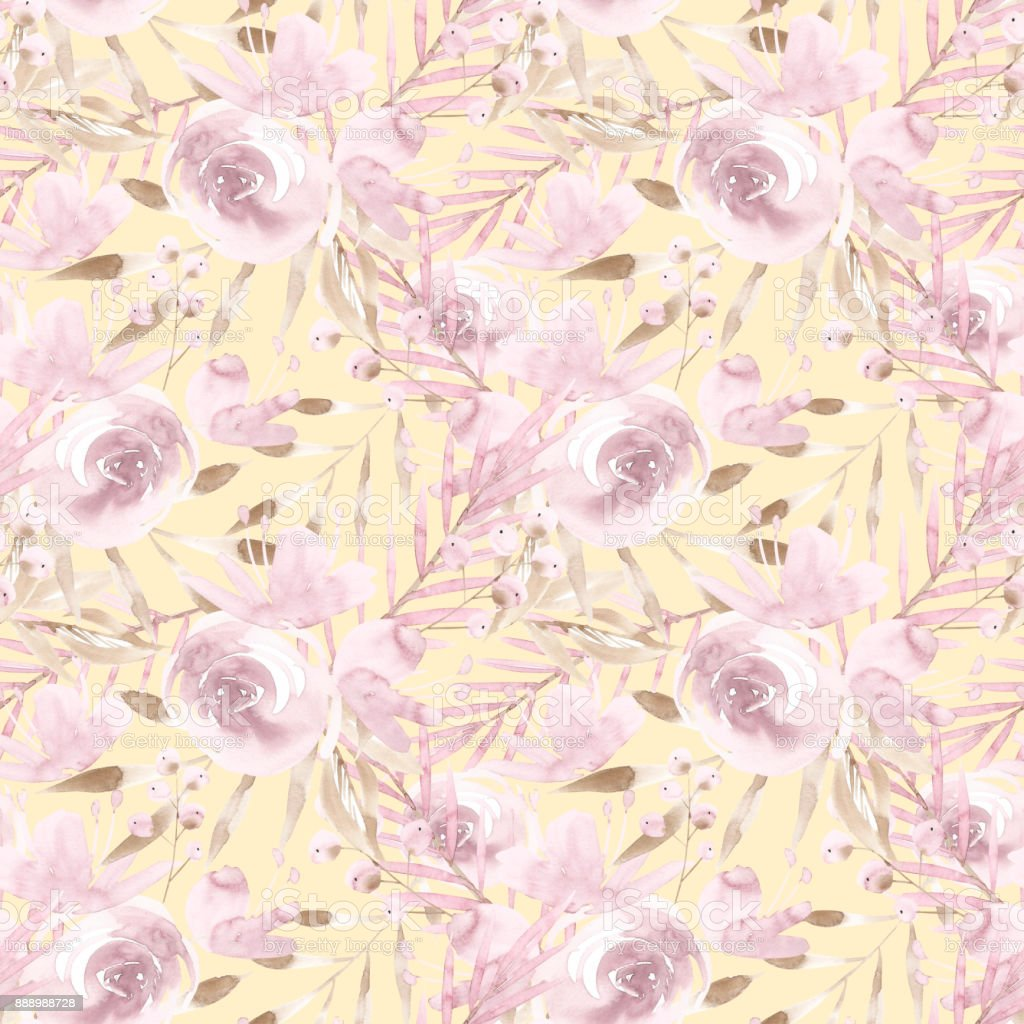 Pale Pink Roses And Peonies With Gray Leaves On Yellow Background