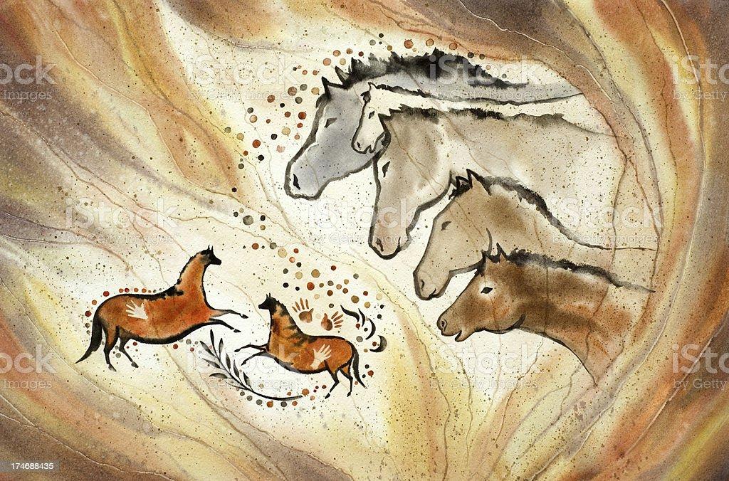 Paleolithic Horses vector art illustration