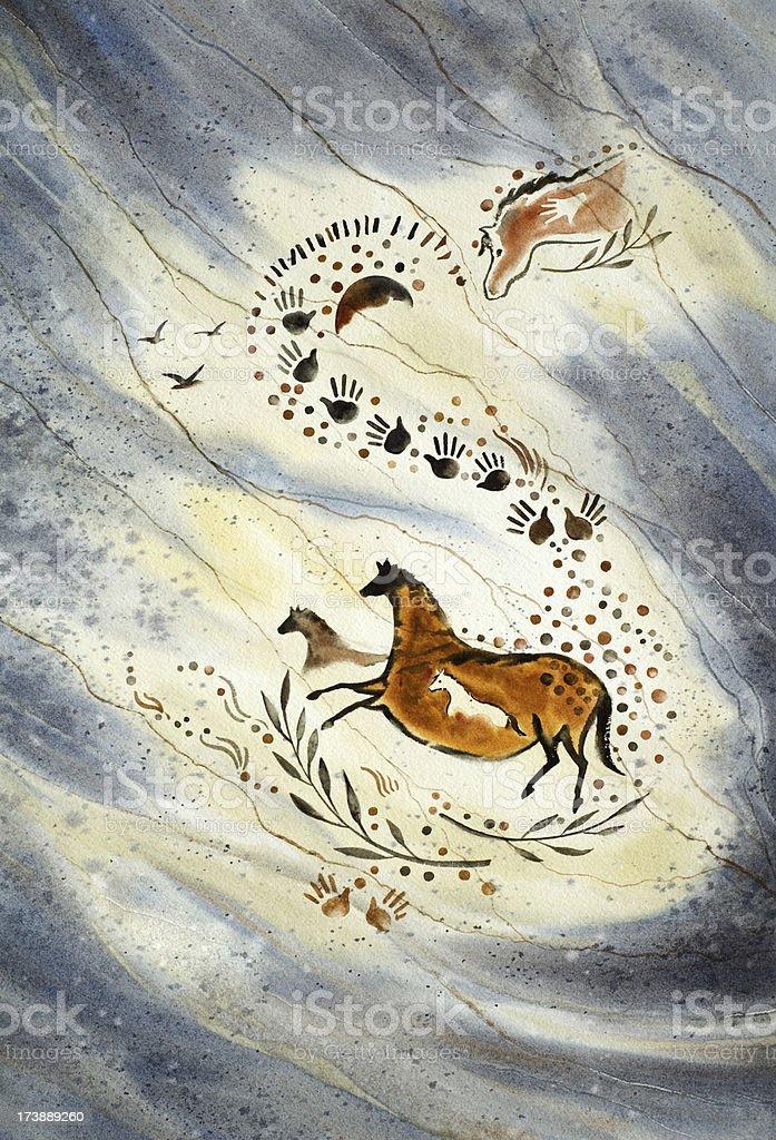 Paleolithic Ponies vector art illustration