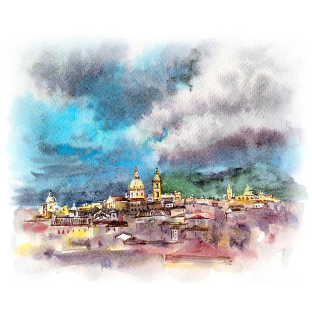 illustrazioni stock, clip art, cartoni animati e icone di tendenza di palermo at sunset, sicily, italy - palermo città