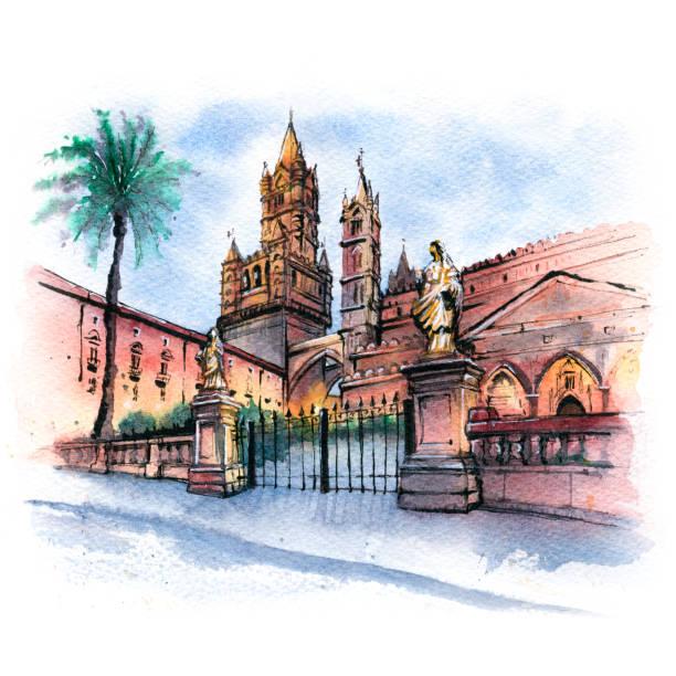 illustrazioni stock, clip art, cartoni animati e icone di tendenza di palermo cathedral, sicily, italy - ferragosto