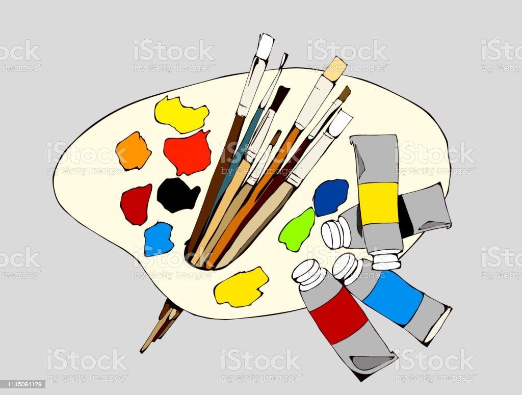 Palette Et Peintures Palette Peinture A Lhuile Brosse Pinceaux Art Art De La Peinture Illustration Impression Toile Fournitures De Peintre Couleurs Vecteurs Libres De Droits Et Plus D Images Vectorielles De Art