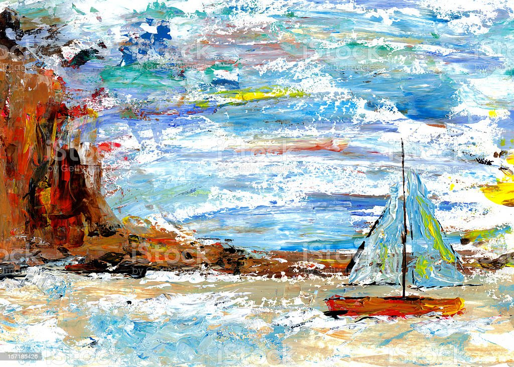 Palette knife painting of sailboat with cliff and sky  background. royalty-free palette knife painting of sailboat with cliff and sky background stock vector art & more images of abstract