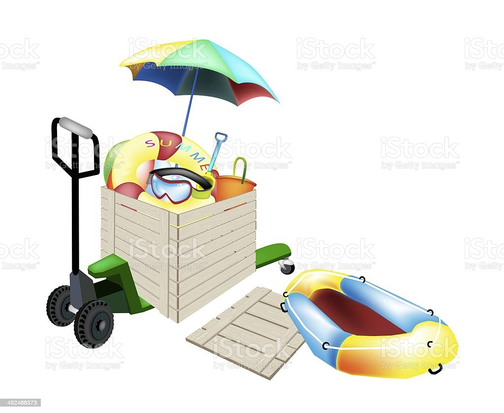 Pallet Truck Loading Beach Items in Shipping Box royalty-free stock vector art