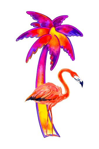 Palm and flamingo. tropical paradise. Watercolor illustration isolated on white. T-shirt print
