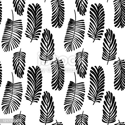 Hand drawn pen and ink leaf background
