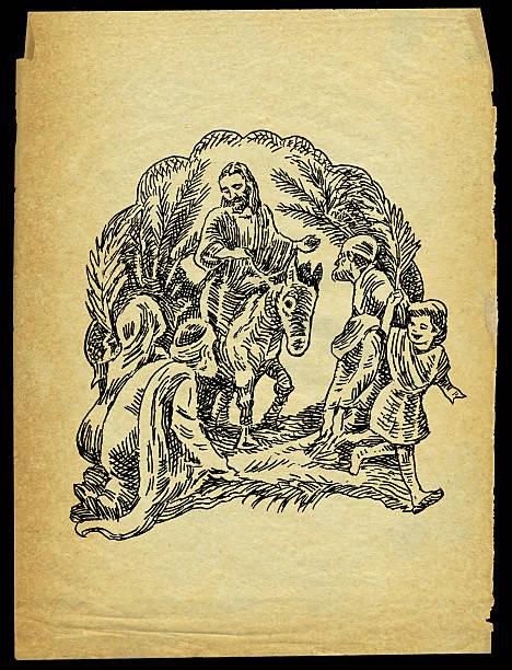 palm sunday - jesus christ - palm sunday stock illustrations, clip art, cartoons, & icons