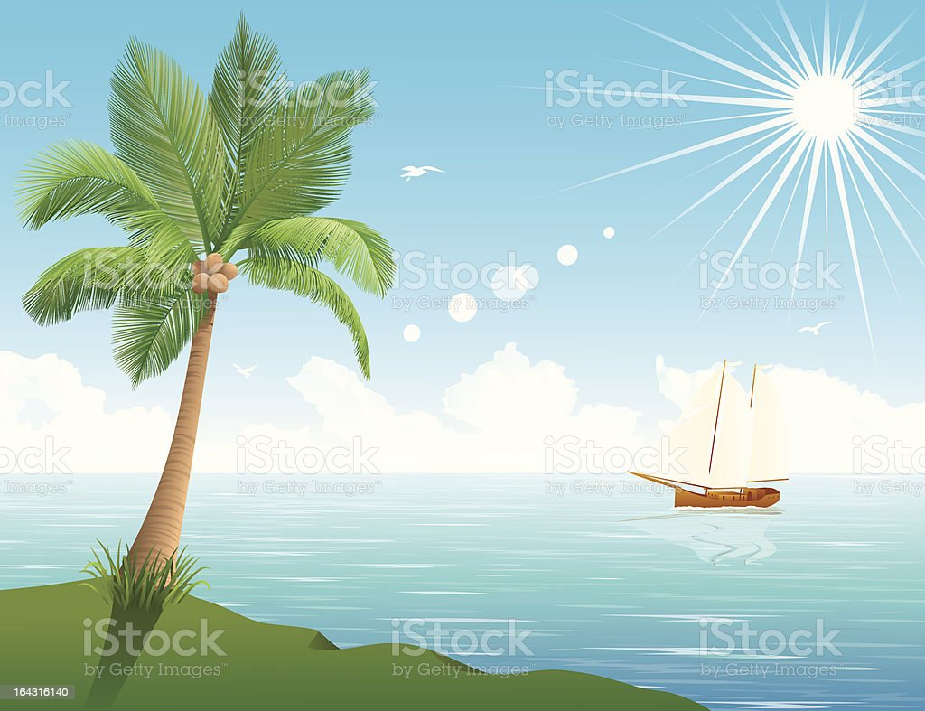 Palm tree and a ship. royalty-free stock vector art