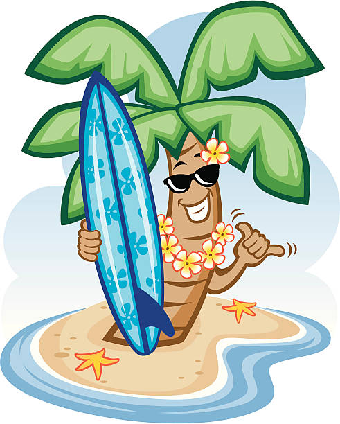 Palm Tree and Surfboard vector art illustration