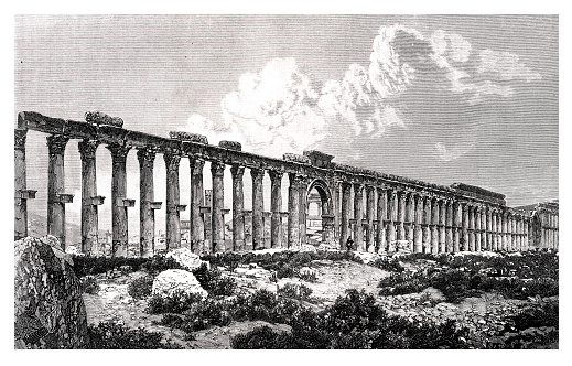 Palmyra Syria ruins of the Great Colonnade 1877
