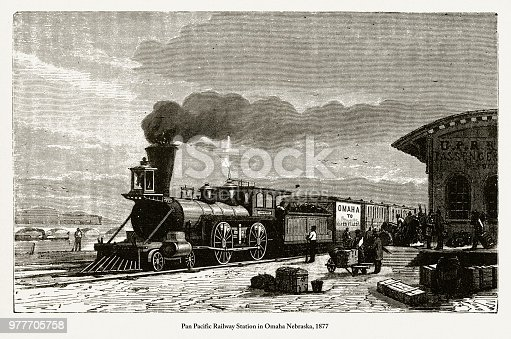 Beautifully Illustrated Antique Engraved Victorian Illustration of Railway Station in Omaha Nebraska, 1877. Source: Original edition from my own archives. Copyright has expired on this artwork. Digitally restored.