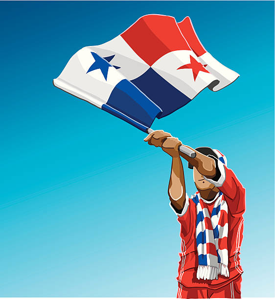 """Panamania Waving Flag Soccer Fan """"Vector Illustration of a Panamanian soccer fan. The background is on a separate layer, so you can use the illustration on your own background. The colors in the .eps and .ai-files are ready for print (CMYK). Included files: EPS (v8), AI (CS2) and Hi-Res JPG."""" soccer stock illustrations"""