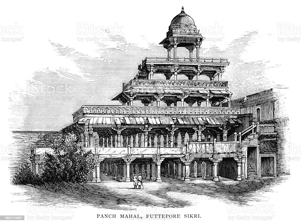 Panch Mahal, Fatehpur Sikri, India royalty-free panch mahal fatehpur sikri india stock vector art & more images of 1880-1889