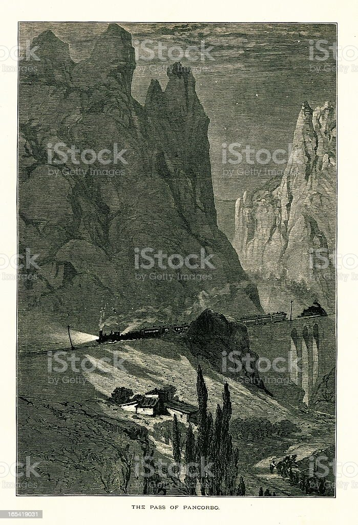 Pancorbo Pass, Spain I Antique European Illustrations royalty-free stock vector art
