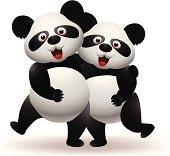Vector illustration of panda couple