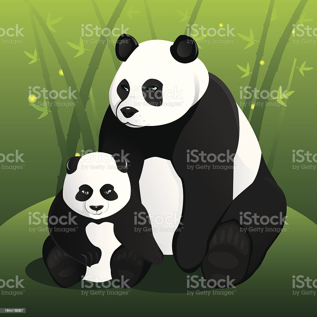 Panda family vector art illustration