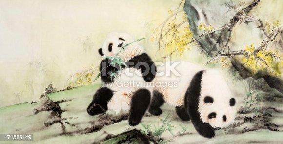 Chinese ink painting, panda.