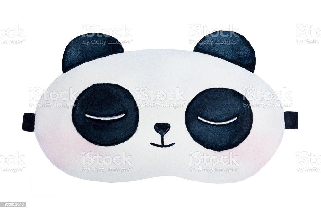 Panda durmiendo eyemask agua color de dibujo. - ilustración de arte vectorial