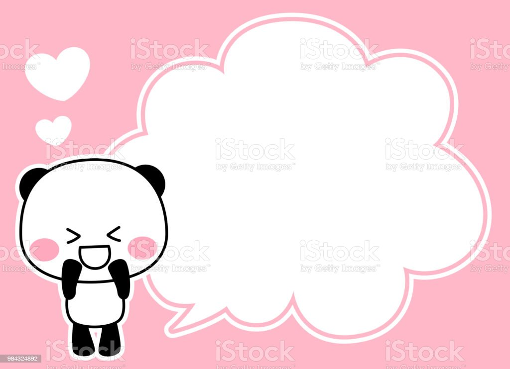 Panda's character and speech blowing up vector art illustration