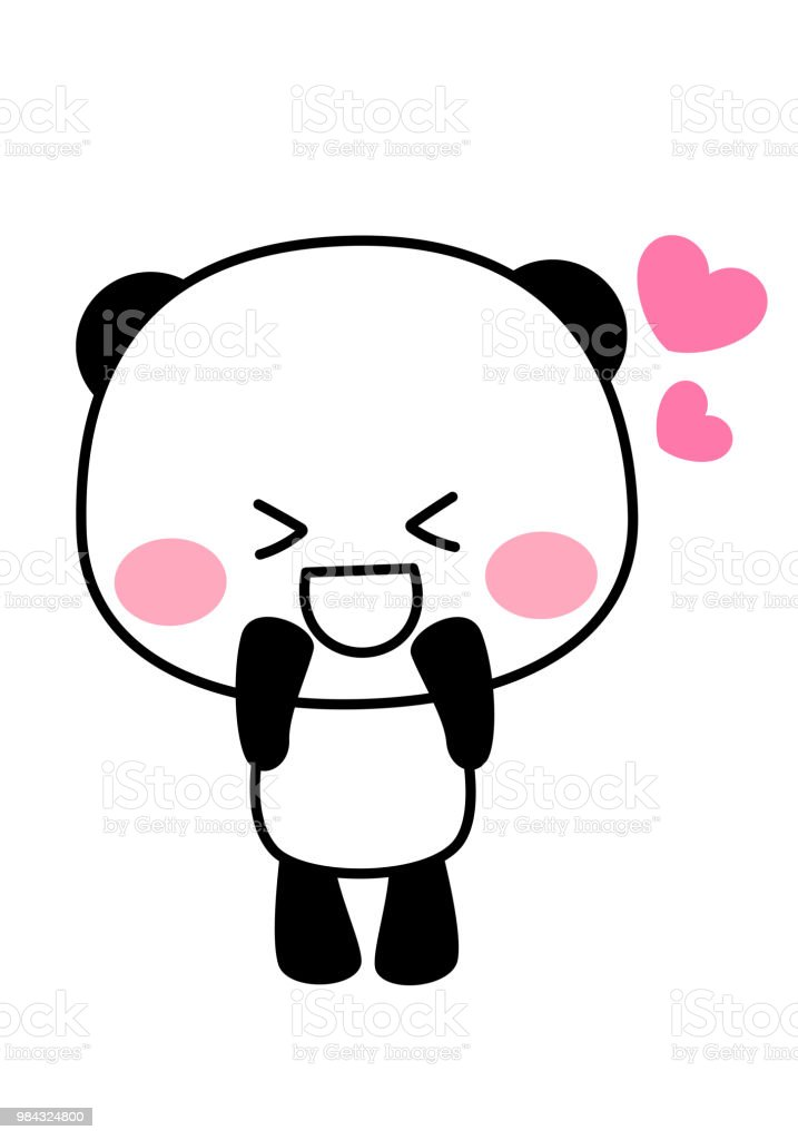 Panda's character pounding up vector art illustration
