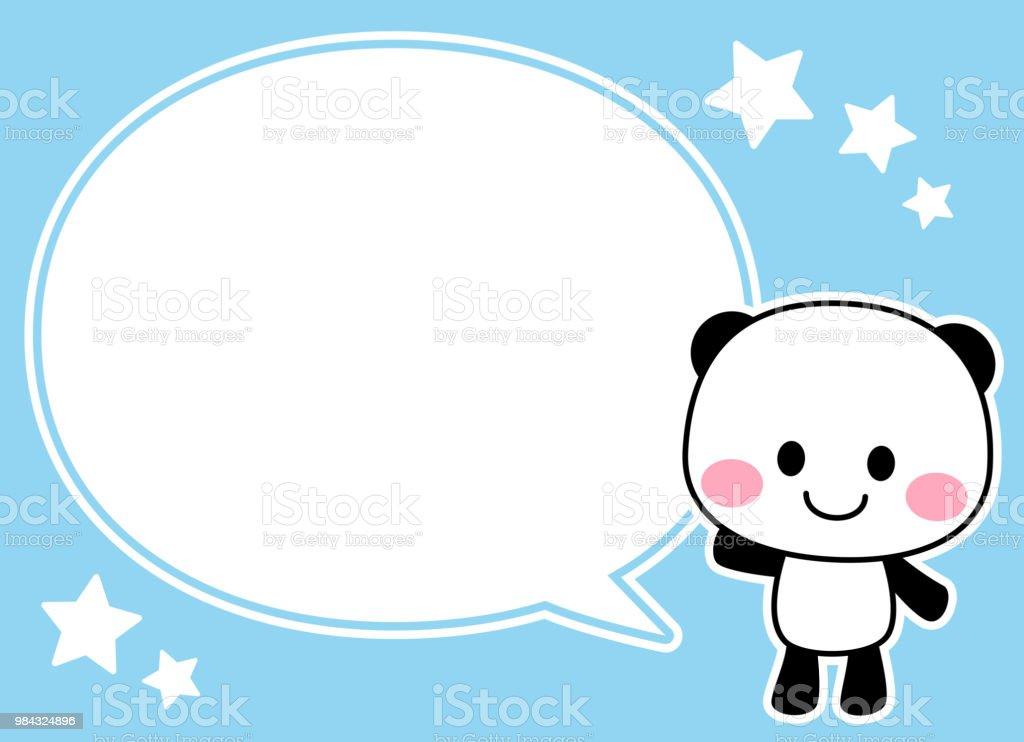 Panda's character raising one hand and a speech balloon vector art illustration