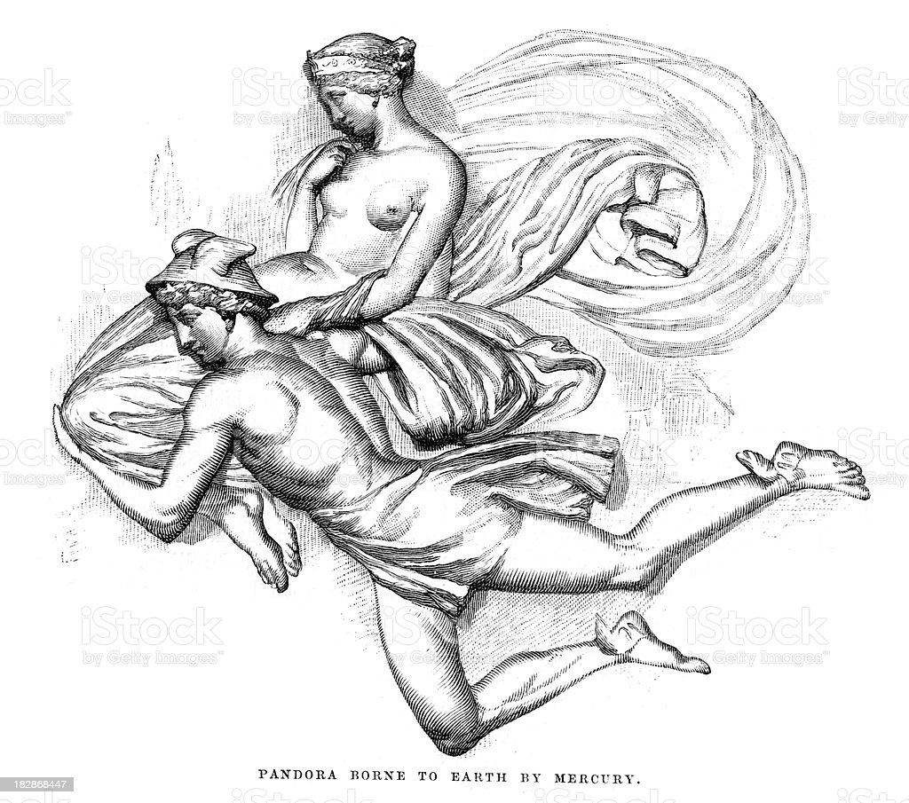 Pandora borne to earth by Mercury vector art illustration