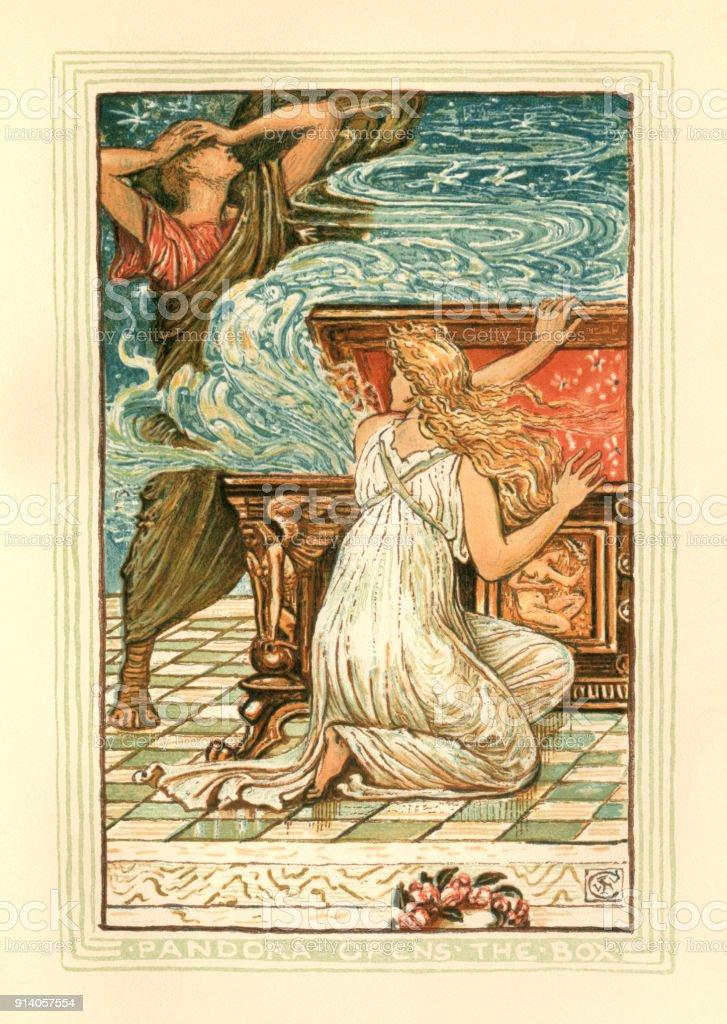Pandora opens the box - Greek mythology vector art illustration