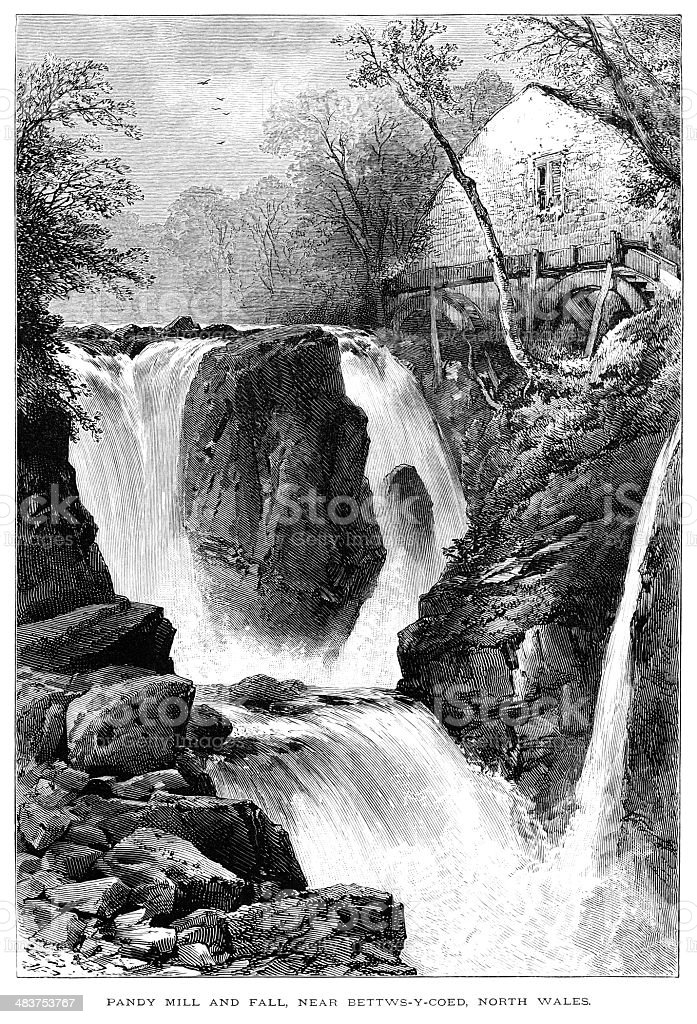 Pandy Mill near Betws-y-Coed, North Wales royalty-free pandy mill near betwsycoed north wales stock vector art & more images of 1870-1879