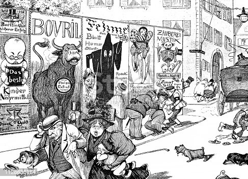 Panic on the street due to scary advertising - 1896 . Text on ads are generic.
