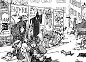 Panic on the street due to scary advertising - 1896