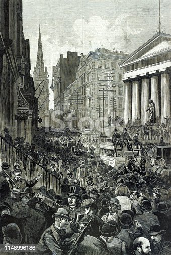 Vintage illustration depicts the economic panic on Wall Street in 1884, turning the Recession of 1882–1885 into a Depression.