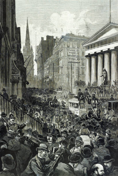 Panic on Wall Street, May 14, 1884 Vintage illustration depicts the economic panic on Wall Street in 1884, turning the Recession of 1882–1885 into a Depression. wall street stock illustrations