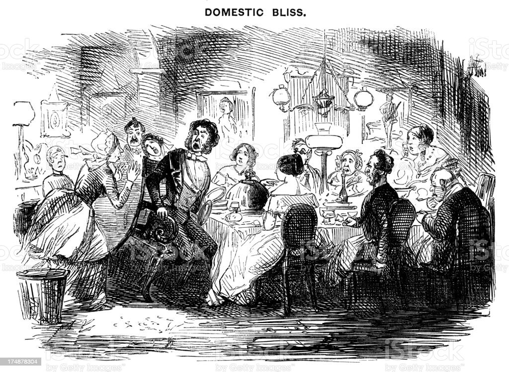 Panicking servant disturbing a dinner party royalty-free panicking servant disturbing a dinner party stock vector art & more images of 1840-1849