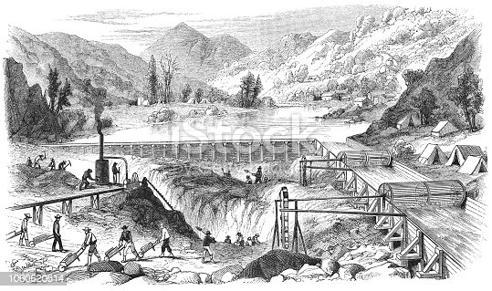 istock Panning for Gold at Middle Forks American River in California, USA (19th Century) 1060620514