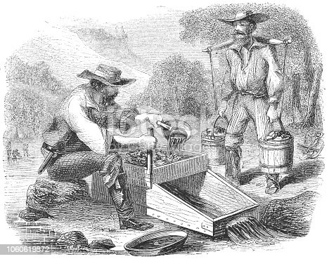 istock Panning for Gold at the Stanislaus River in California, USA (19th Century) 1060619872