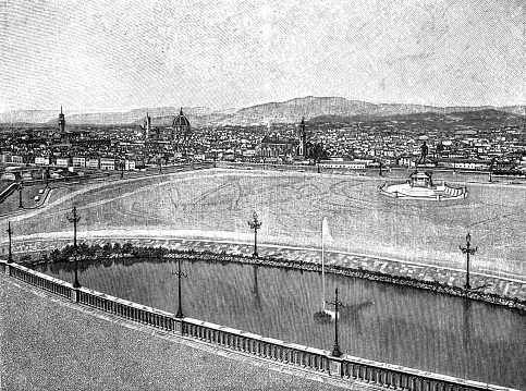 Panorama florence from Viale dei Colli in 1895