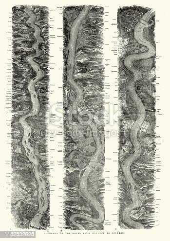 Vintage engraving of Panorama of River Rhine, Mayence to Cologne, 1872, Victorian, 19th Century