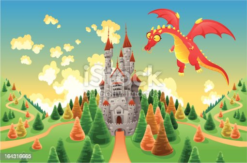 Panorama with medieval castle and dragon. Cartoon and vector illustration